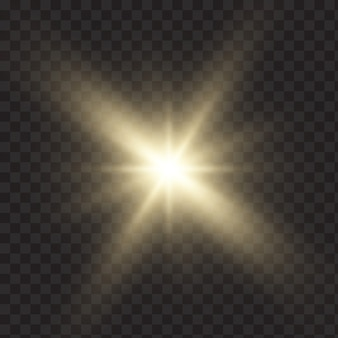 Gold glowing light explodes. sparkling magical dust particles. bright star. transparent shining sun, bright flash. vector sparkles.