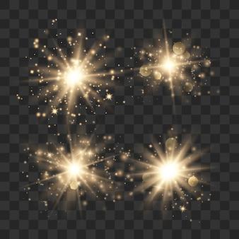 Золото светящиеся огни эффект, вспышка, взрыв и звезды. солнечная вспышка с лучами и прожектором.