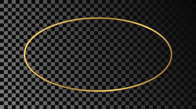 Gold glowing oval shape frame isolated on dark transparent background. shiny frame with glowing effects. vector illustration.