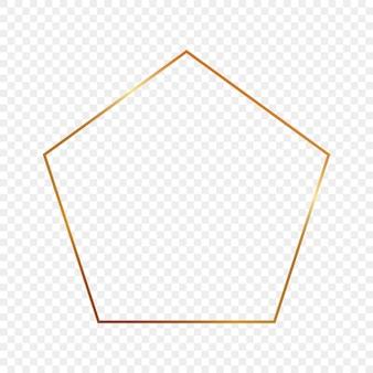 透明な背景に分離された金色に輝く五角形のフレーム。輝く効果のある光沢のあるフレーム。ベクトルイラスト。