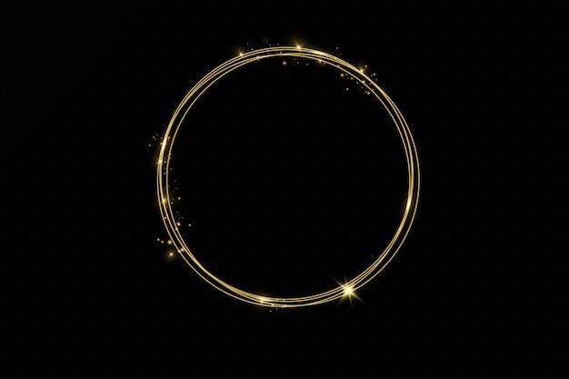 分離されたライト効果を持つゴールドの輝く丸いフレーム。輝くゴールデンリング。ネオンスワールトレイル効果。