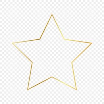 투명 한 배경에 고립 된 골드 빛나는 별 모양 프레임. 빛나는 효과와 빛나는 프레임. 벡터 일러스트 레이 션.
