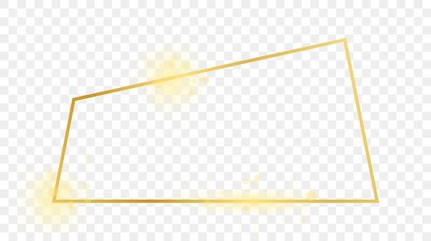 透明な背景に分離された金色に輝く台形の形のフレーム。輝く効果のある光沢のあるフレーム。ベクトルイラスト。