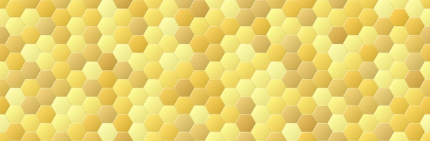 Gold gradient color hexagon seamless pattern