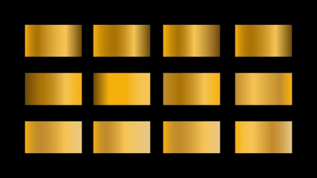 Gold gradient color swatches set isolated on black background for website banner or poster design