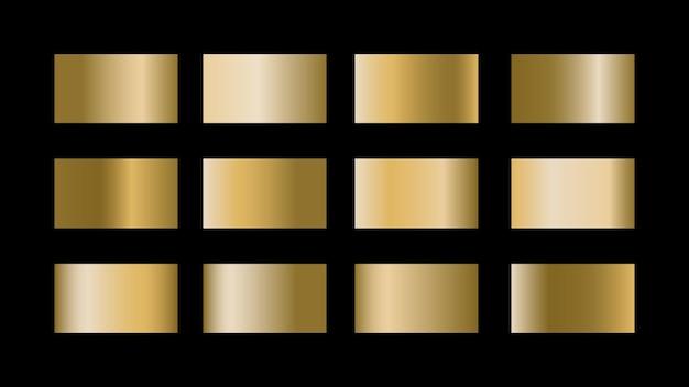 光沢のあるメタリックグラフィックデザインの黒の背景に分離されたゴールドのグラデーション色見本セット