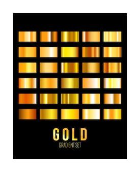 Набор золотых градиентных сеток на черном фоне