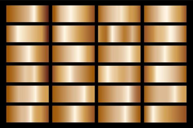フレーム、リボン、バナー、コイン、ラベルのゴールドグラデーションセット背景アイコンテクスチャメタリックイラスト。リアルな抽象的な黄金のデザインのシームレスなパターン。エレガントな光と輝きのテンプレート