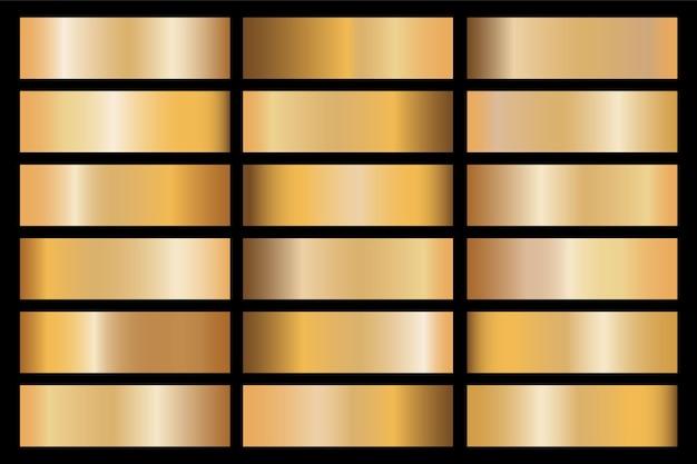 ゴールドのグラデーションセットの背景テクスチャメタリック。