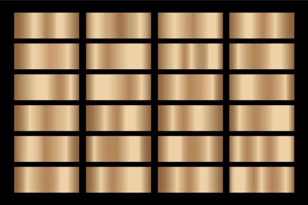 Золотой градиент набор фоновой текстуры металлик