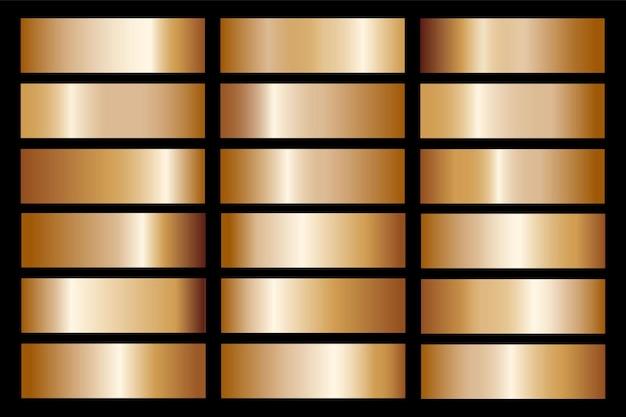 Золотой градиент установить фон вектор значок текстуры металлической иллюстрации для рамы, ленты, баннера, монеты и этикетки. реалистичный абстрактный золотой дизайн бесшовные модели. элегантный шаблон света и блеска