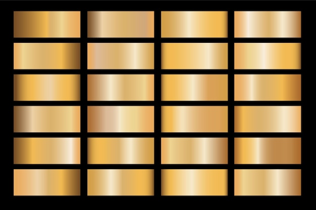 フレーム、リボン、バナー、コイン、ラベルのゴールドグラデーションセット背景ベクトルアイコンテクスチャメタリックイラスト。