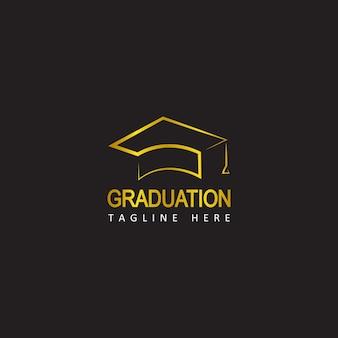 Золотой выпускной логотип шаблон дизайна вектор