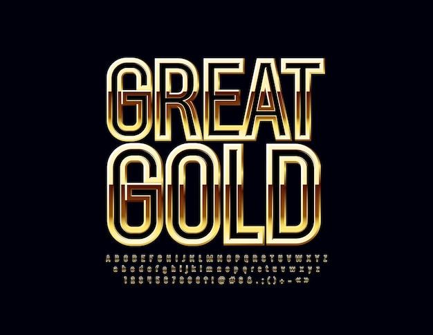 Золотой большой шрифт. шикарные глянцевые буквы алфавита, цифры и символы.