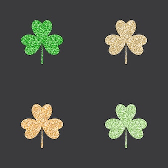Gold and green glitter shamrocks set