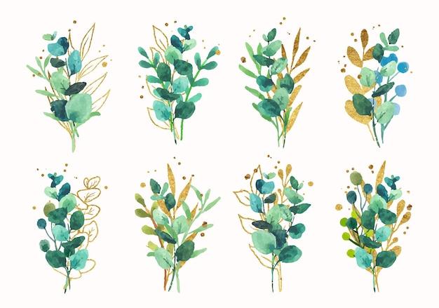 수채화 컬렉션에 고립 된 황금 뿌려 놓은 것과 함께 골드 그린 열 대 잎 웨딩 부케