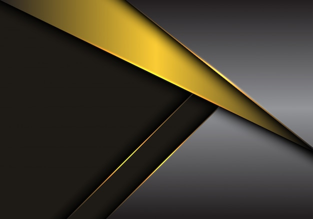 Gold grey metallic overlap on dark blank space background.