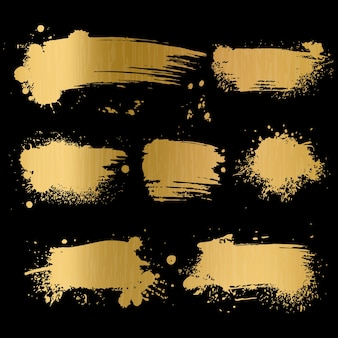 Gold grunge background. black texture on golden foil paper for luxury glamour premium card  trendy old paint brush art concept