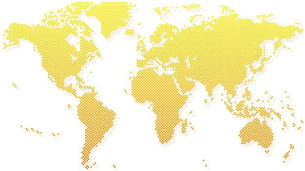 Gold halftone world map