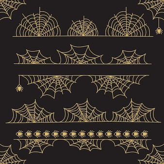 Gold halloween frame border and dividers