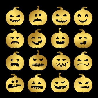 Gold halloween pumpkins set