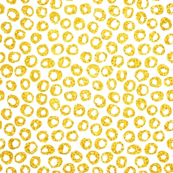 Gold hand drawn dots seamless pattern. vector illustration of brush painted background.