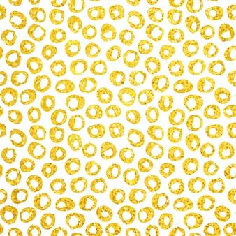 Золотая рука нарисованные точки бесшовные модели. векторная иллюстрация кисти окрашенного фона.