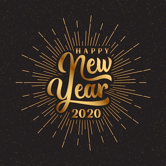 Gold happy 2020 new year lettering with burst illustration.