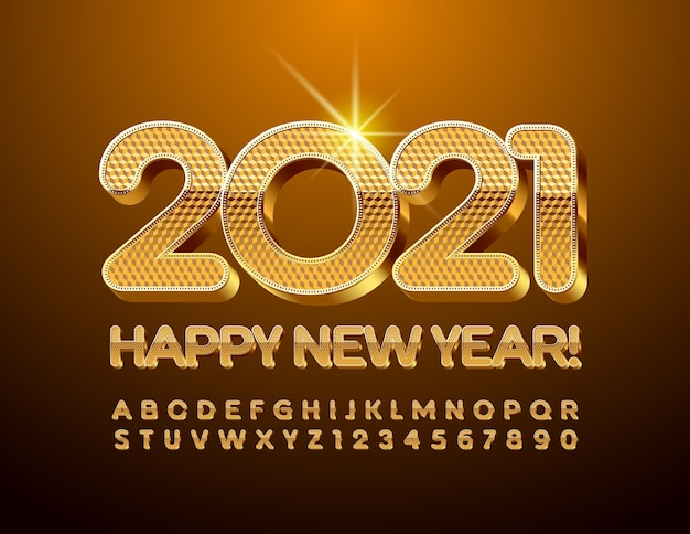 Gold happy new year 2021. premium chic font. 3d alphabet letters and numbers set