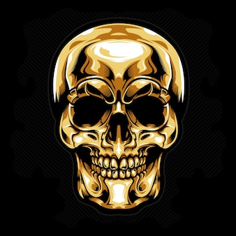 Gold head skull vector