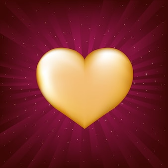 Gold heart, on crimson background with beams and stars,