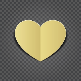 Gold heart cut paper shape isolated on transparent background. easy replace backdrop.