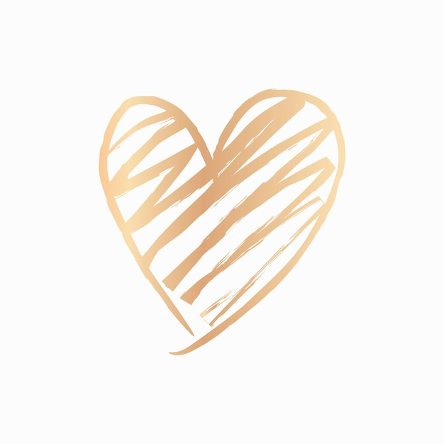 Gold heart element vector in hand drawn style