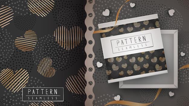 Gold heart love - seamless pattern