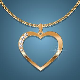 Золотое сердечное колье на золотой цепочке.