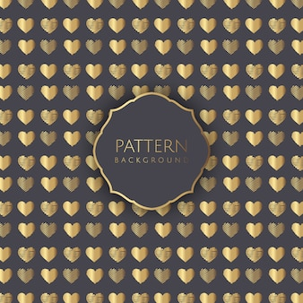 Gold hearts pattern background