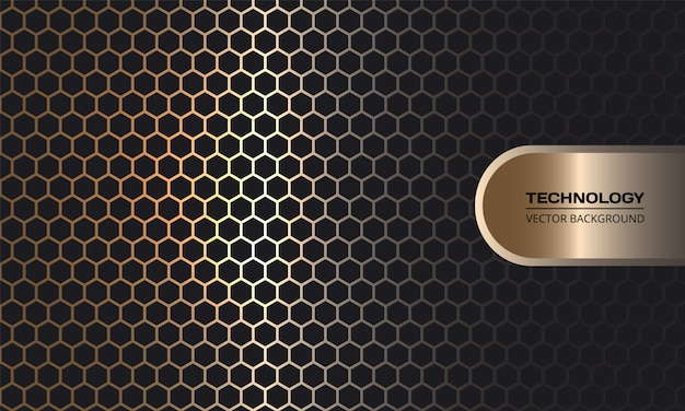 Золотой шестиугольник из углеродного волокна темный фон с золотыми светящимися линиями и бликами.