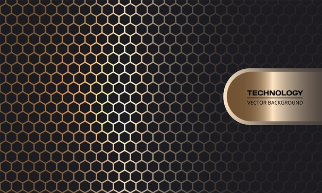 Gold hexagon carbon fiber dark background with golden luminous lines and highlights.