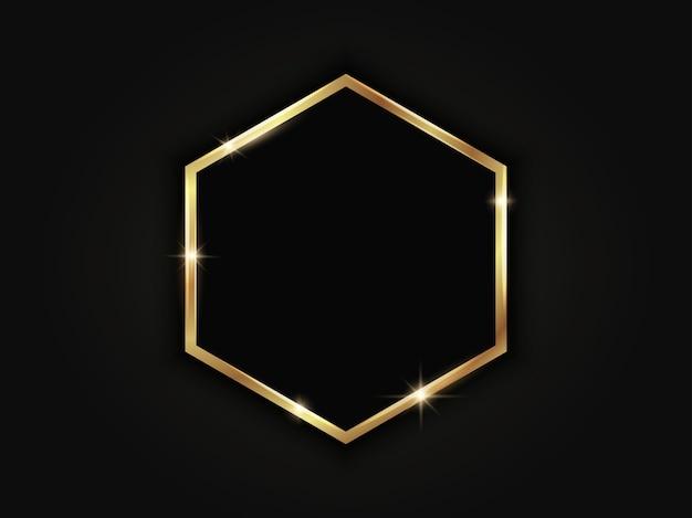 Gold hexagonal frame. geometric luxury template on dark background