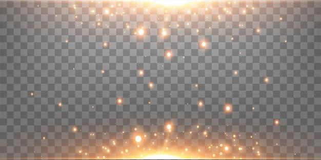 골드 수평 렌즈 플레어. 투명 한 배경에 고립. 노란색 광선 플레어 조명 효과입니다. 벡터 일러스트 레이 션.