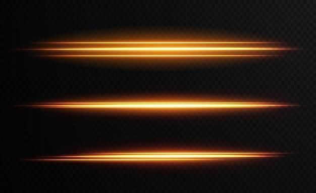Gold horizontal lens flares pack laser beams horizontal light rays beautiful light flares