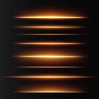 ゴールドの水平レンズ フレア パック