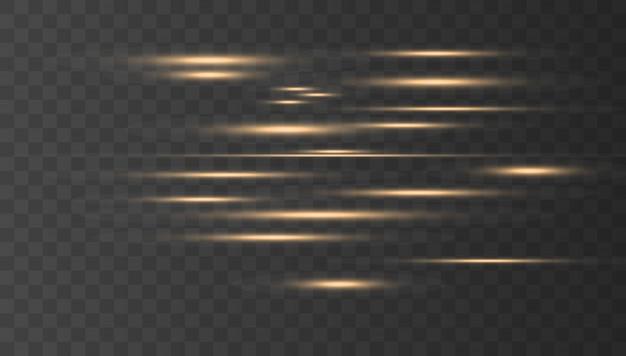 Gold horizontal lens flares