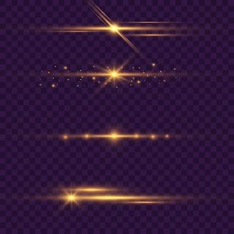 ゴールドの水平光線、レンズ、ライン。レーザービーム。青、紫の抽象的なきらめく裏地の透明な背景。軽いフレア、効果。