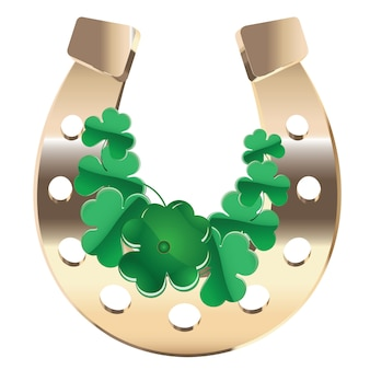 Gold horseshoe with clover