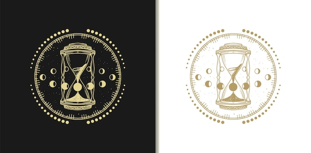 Gold hour glass logos, luxury design template