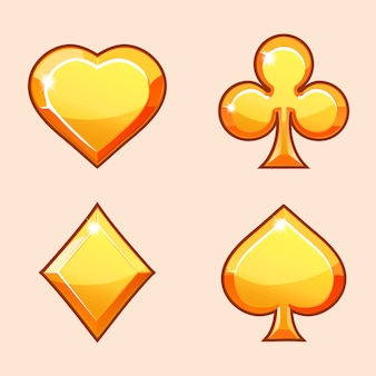 Gold icons of playings cards