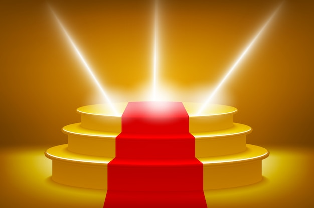 Gold illuminated stage podium for award ceremony vector illustration, red  carpet track