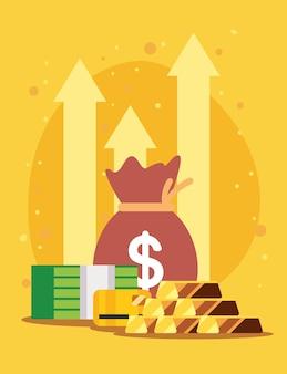 Золотые слитки с деньгами и стрелками вверх
