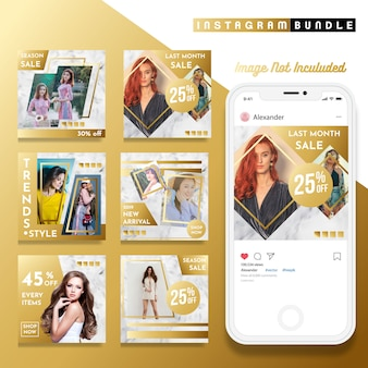 Gold instagram fashion post template